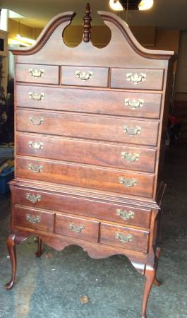 Vintage Cherry Highboy $300 I don't love this piece as is but it would look fabulous painted.  See on Pinterest View on Craigslist