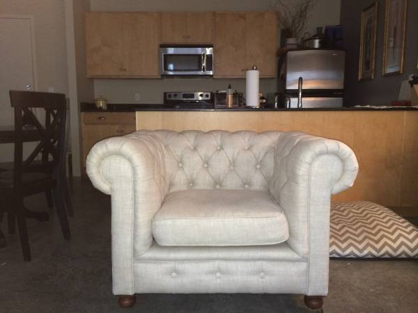 Restoration Hardware Chesterfield Chair $900 View on Craigslist