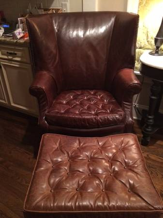 Restoration Hardware Chair & Ottoman $1000 This leather chair and ottoman retailed for $2500. View on Craigslist