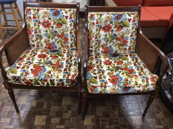 Pair of Vintage Cane/Upholstered Chairs     $50   I love these chairs - they have a ton of potential. Cane chairs look amazing painted and you could either leave this fabric or replace it with new.    See on Pinterest      View on Craigslist