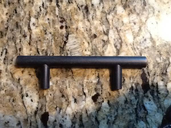 "Oil Rubbed Bronze Pulls     $30    This is for 30 pulls - they have a 3"" spread. This is a great deal and if you don't like the oil rubbed bronze you could always spray paint them.     View on Craigslist"