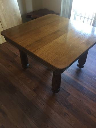 Antique Oak Dining Table     $150   This dining table has 2 leafs.     View on Craigslist