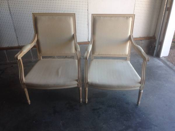 Pair of Chairs $50 This are gorgeous chairs, looks like they just need to be reupholstered.  View on Craigslist