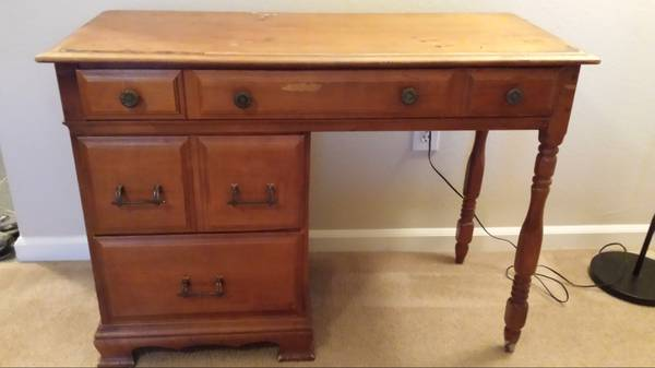 Vintage Desk     $100   This desk would look great painted. I love the hardware on it, there is a closeup on the Craigslist ad.     View on Craigslist