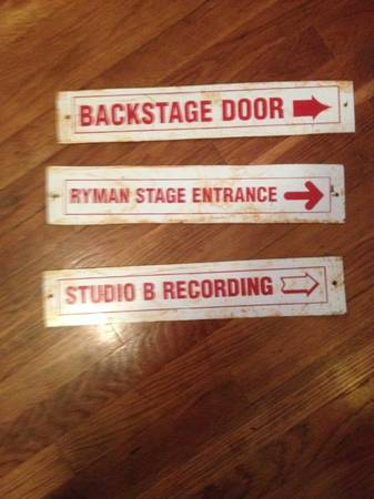 Porcelain Ryman and Studio B Signs     $75     View on Craigslist