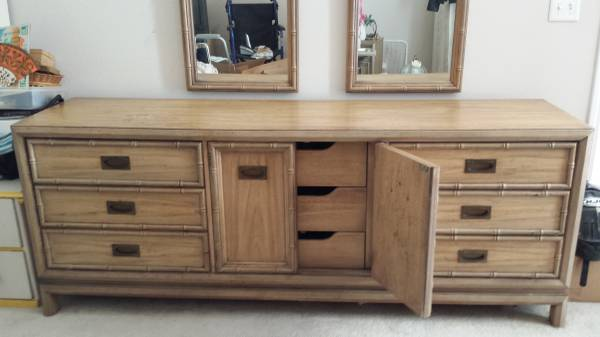 Faux Bamboo Bedroom Furniture     $240   Set includes dresser, 2 mirrors and 2 nightstands.     View on Craigslist