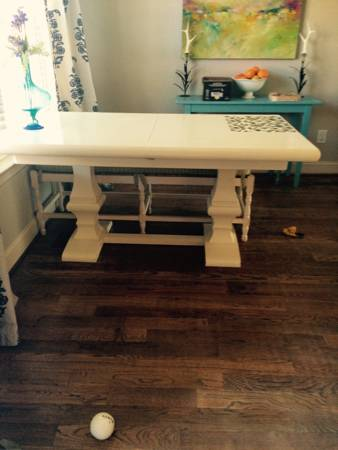 Ballard Designs Dining Set     $1000   Set includes table with leaf, bench and chairs.    View on Craigslist
