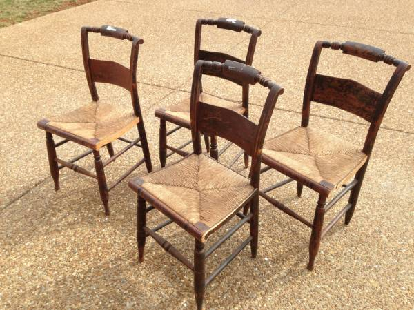Set of 4 Antique Chairs     $120   These chairs look like they need to either be refinished or painted - would be gorgeous once redone.    View on Craigslist