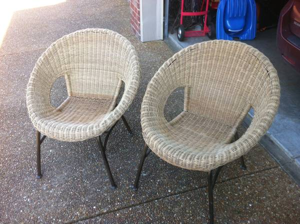 Pair of Wicker Chairs $50 These could work indoors or outdoors and you could leave as is or spray paint.  View on Craigslist