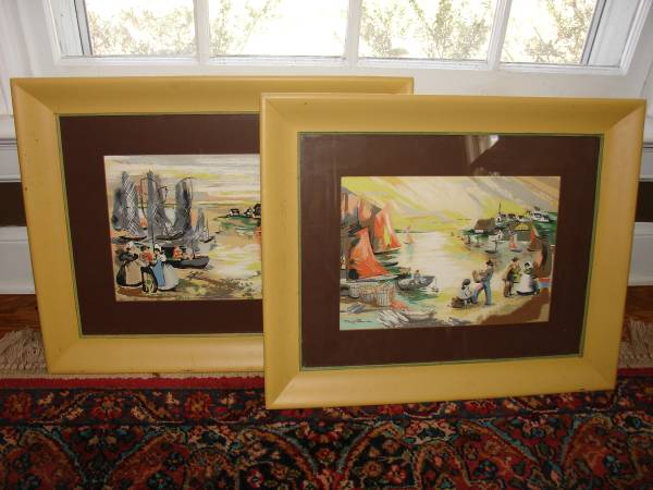 Pair of Vintage French Prints $60 I really like this set of 1940's french fishing village prints - the colors are nice and vibrant. Click on the Craigslist link to see close ups of each picture. View on Craigslist