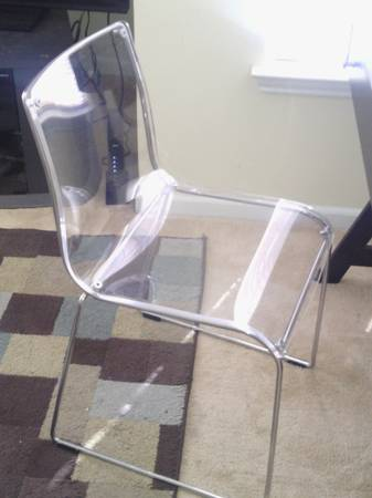 Clear Acrylic/Lucite Chair     $50   This would be a perfect desk chair.    View on Craigslist