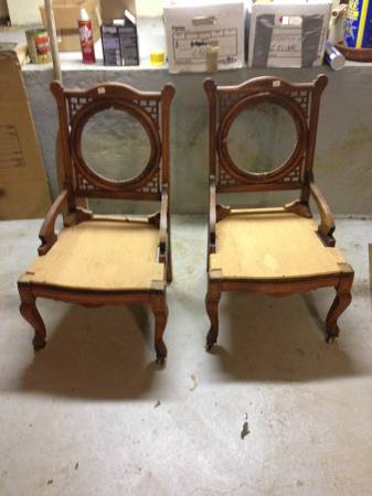 Pair of Antique Chairs     $70   These chairs are gorgeous but need a bit of work.    View on Craigslist