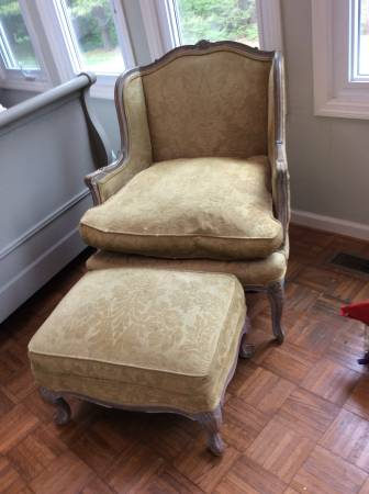Antique French Chair and Ottoman     $500     View on Craigslist