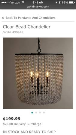World Market Chandelier     $80     View on Craigslist