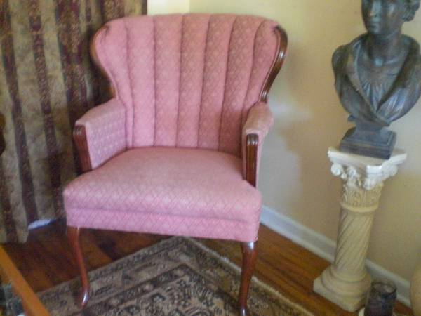 Vintage Chair     $35   This is a cute little chair and I love the pink color - as long as the fabric is in good shape it could be easily modernized by painting the wood.    View on Craigslist
