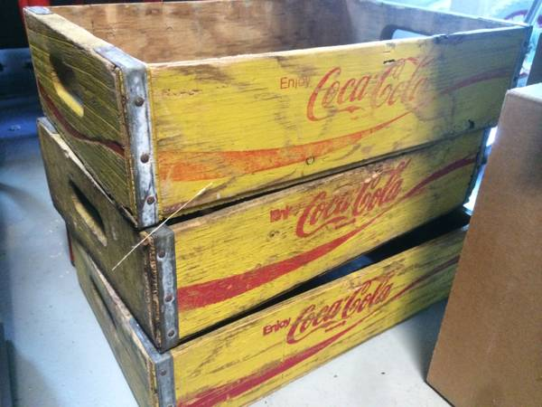 Vintage Coke Crates     $25 each   These can be really versatile - hang on the wall for a fun shelf or use as a storage basket.     View on Craigslist