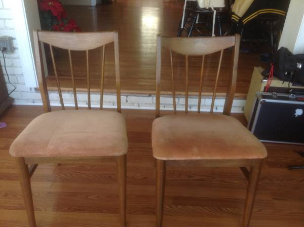 Pair of Vintage Chairs     $50   These chairs would look great with new seat fabric.    View on Craigslist