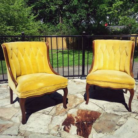 Pair of Vintage Yellow Chairs $250 View on Craigslist