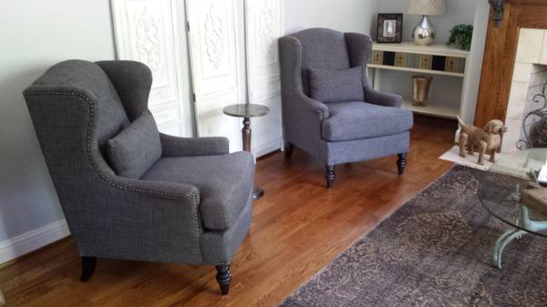 Pair of Linen Wingback Chairs     $750     View on Craigslist