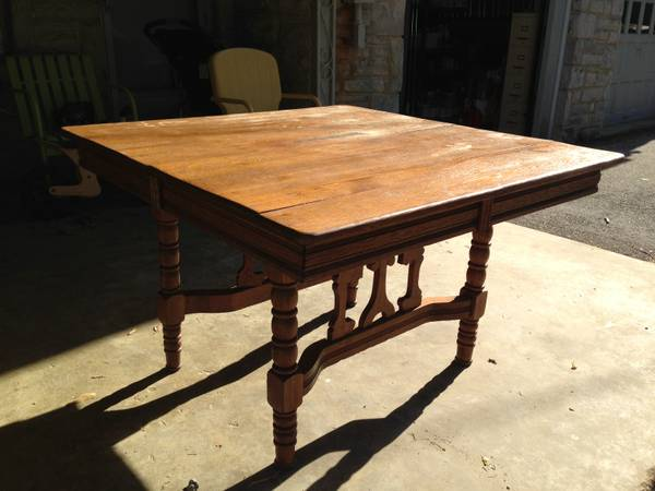 Antique Kitchen Table $125 This table has a gorgeous base just needs refinishing.  View on Craigslist