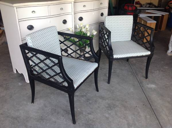 Pair of Vintage Faux Bamboo Chairs     $100   I love the faux bamboo detailing on the sides of these chairs!    View on Craigslist