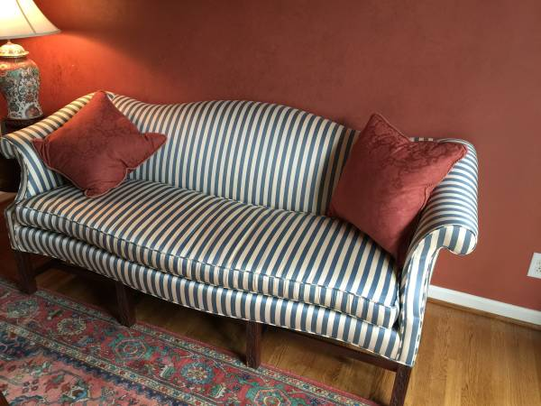Striped Camelback Sofa     $200     View on Craigslist