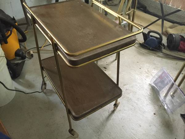 Vintage Bar Cart     $35   This needs a little cleaning up but for $35 I think it's a good deal.    View on Craigslist