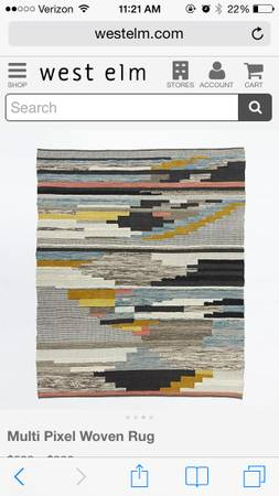 West Elm 8' x 10' Rug     $700   This rug retails for $999 on the West Elm website.    View on Craigslist