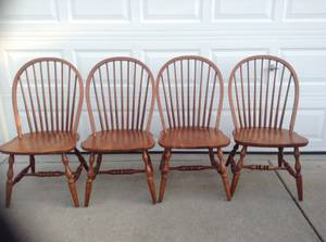 Set of Oak Chairs     $135   This is a classic style chair and could work with a lot of different style tables - use as is or paint them.     View on Craigslist