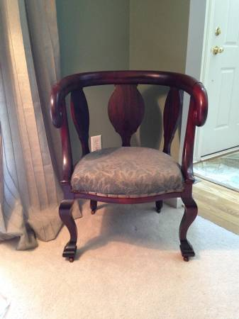 Antique Wood Accent Chair     $85   This chair is pretty as is but you could also paint and recover the seat cushion to fit your space.    View on Craigslist
