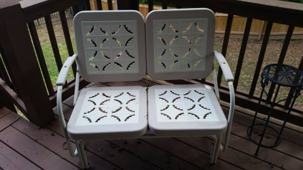 Restoration Hardware Metal Patio Furniture $100 This set includes a glider, chair and table. View on Craigslist