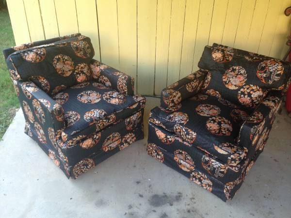 Pair of Vintage Chairs $150 I love the fabric on these chairs - if you click on the ad it will show you a close up of the detailing.  View on Craigslist