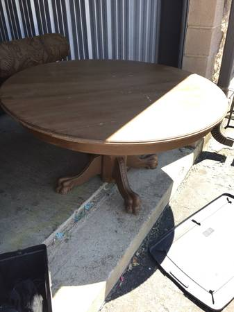 Clawfoot Pedestal Table   $200 This is a great classic kitchen table and would work with a lot of styles of chairs.  View on Craigslist