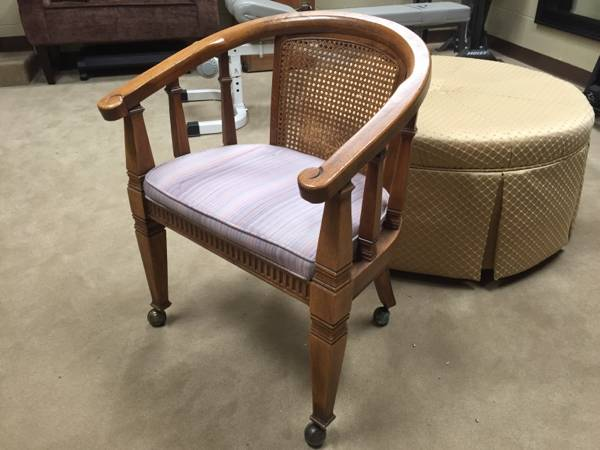 Cane Back Desk Chair     $20   This chair would look great painted and with a new cushion.    View on Craigslist