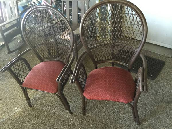 Pair of Wicker Ballon Back Chairs     $40   These would look great painted and with new fabric.    View on Craigslist