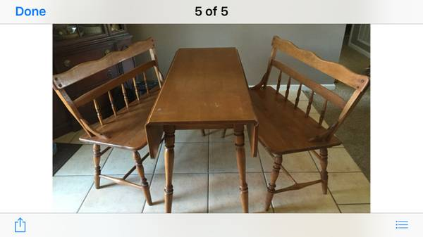 Drop Leaf Table with Benches $100 This table would be perfect in a breakfast nook - just needs a coat of paint! View on Craigslist