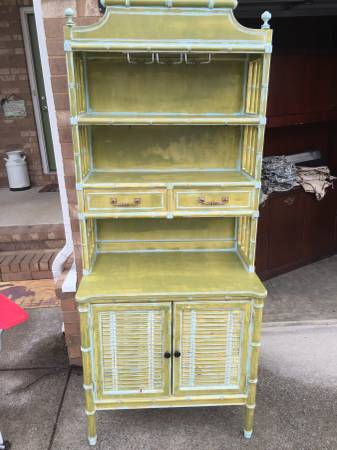 Faux Bamboo Kitchen Hutch $175 I really love this piece but don't love the way its painted - would look fabulous with a fresh coat of paint. View on Craigslist