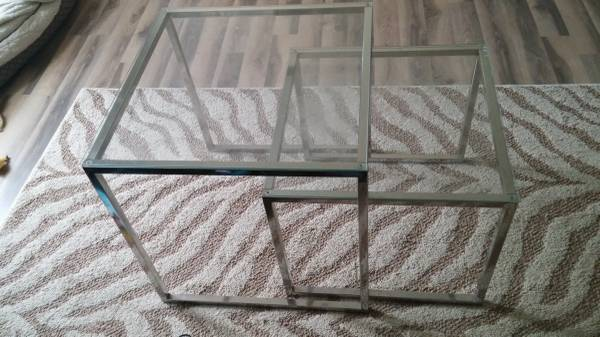 Pair of Ikea Nesting Tables     $40   This could be used as a coffee table or end table - I'd spray paint them gold.  See on Pinterest    View on Craigslist