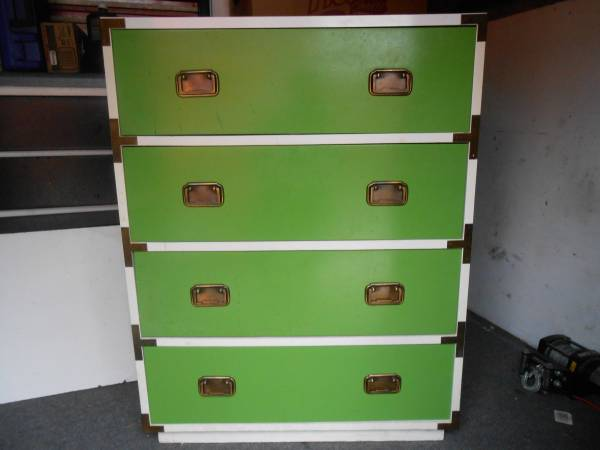Campaign Dresser $65 I love the green and white colors on this dresser. View on Craigslist