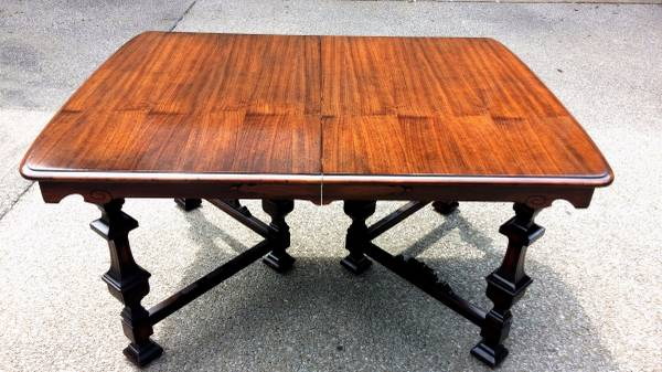 Antique Dining Set     $225   This table was newly refinished and has 4 matching chairs.    View on Craigslist