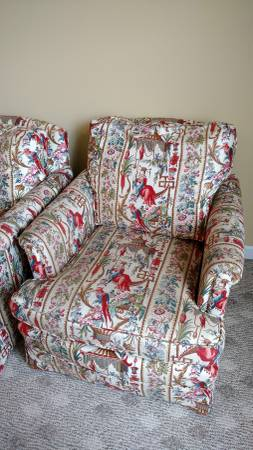 Pair of Chinoiserie Upholstered Chairs     $100     View on Craigslist