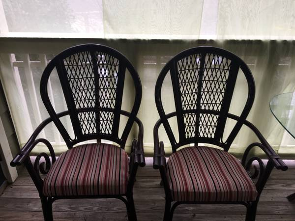 Rattan Table and Chairs $74 These chairs would look great painted and with new fabric. View on Craigslist