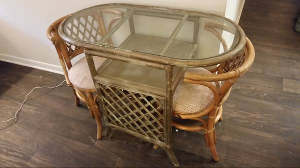 Rattan Table and Chairs     $60     View on Craigslist