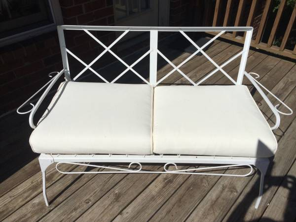 Vintage Patio Furniture     $95   Set includes a bench and 2 chairs.    View on Craigslist