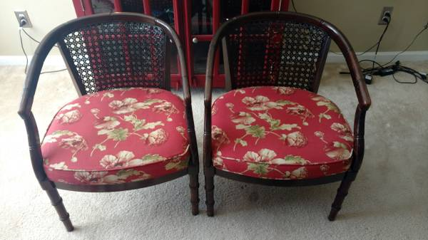 Pair of Cane Back Chairs $55 I think these chairs would look great painted and with new fabric. View on Craigslist