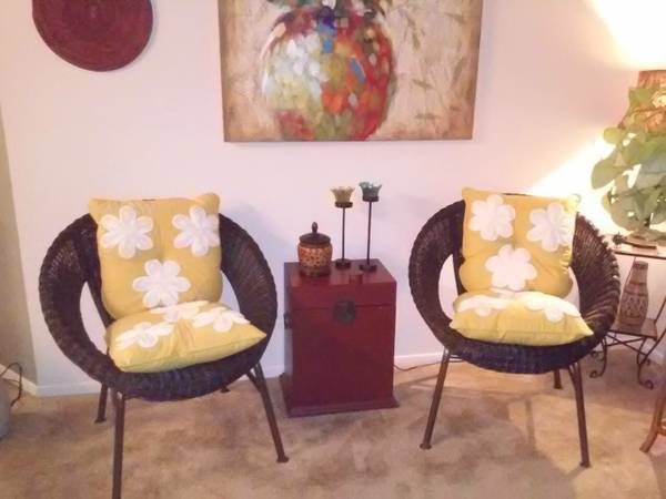 Pair of Pier One Wicker Chairs     $85   I'm not a huge fan of these pillows on the chairs but they would look great without.    View on Craigslist