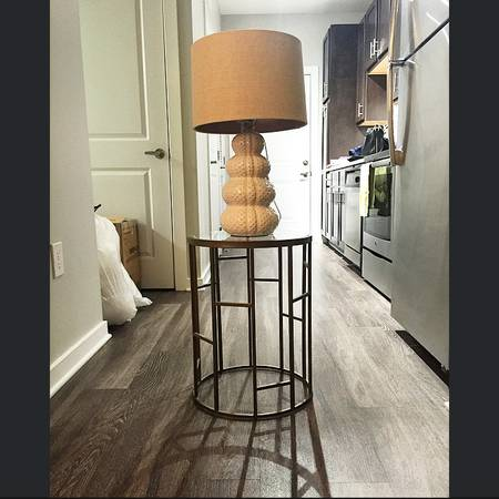 Gold/Glass Side Table $20 Lamp is also for sale for $20. View on Craigslist