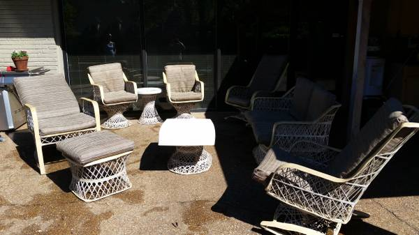 Vintage Fiberglass Patio Set     $350   This is a great deal for this set - with a little cleaning and some updated cushions it would look perfect on your patio.     View on Craigslist