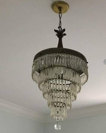 Brass and Crystal Light  Fixture     $100     View on Craigslist