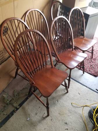 Set of 6 Chairs     $60   These classic windsor style chairs would look really nice painted black and can pair with a lot of different table styles.     View on Craigslist